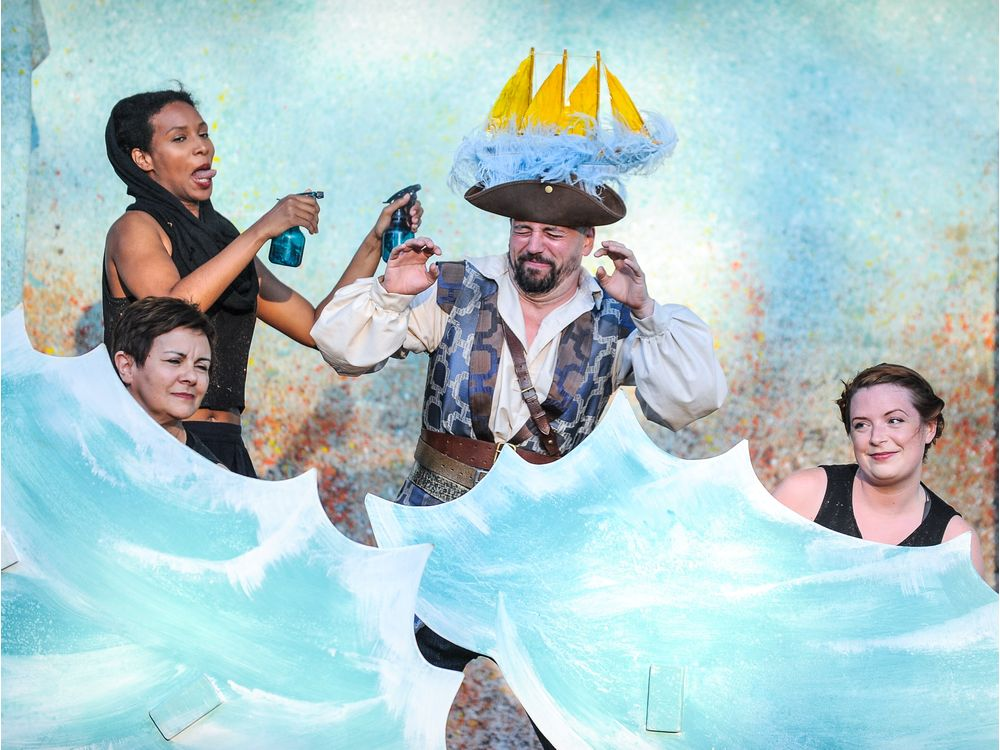 A Company of Fools presents Pericles, Prince of Tyre, in parks across Ottawa, July 4 to August 20, 2016. From left to right: Mekdes Teshome, Mary Ellis, AL Connors, Jennifer Cecil l to r: Mekdes Teshome (standing), Mary Ellis, AL Connors, Jennifer Cecil. Credit: Andrew Alexander Photography Goes with 0706 review fools
